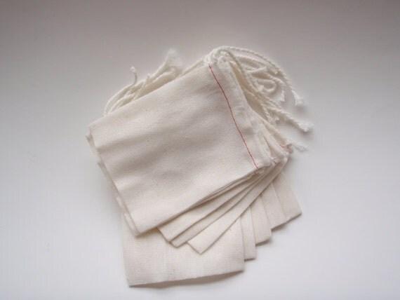 Muslin Bags, Mini, 3x4 Cotton, DIY - 10 Total