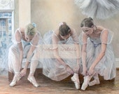 Ballerinas tying pointe shoes signed limited edition giclee ballet print from pastel drawing. Fits IKEA frames