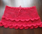 CLEARANCE ITEM  Hand crochet summer transparent  beach mini skirt in red color