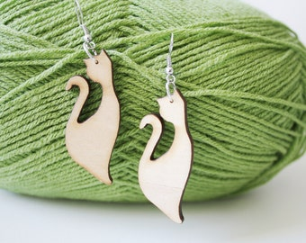 Kitty  Natural  Wood Earring