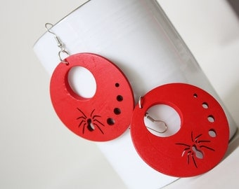 RED Spider Laser Cut  Cut Wood Earring