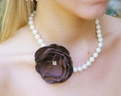 Chocolate Brown Floral Ivory Pearl Necklace