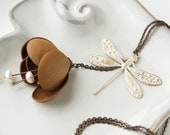 Art Nouveau style leather necklace with freshwater pearls