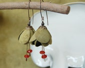 Spring Edition Art Nouveau style leather earrings with Carnelian faceted rondelles