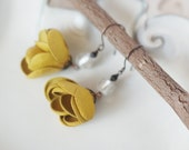 Spring Edition Art Nouveau style leather earrings with White silver Lampwork glass beads