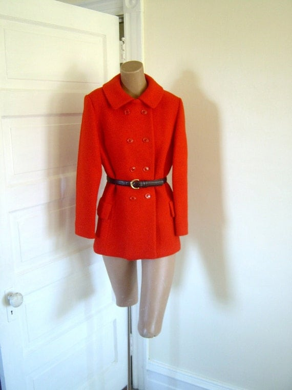 Red Wool Vintage 1950s Jacket and Skirt Suit
