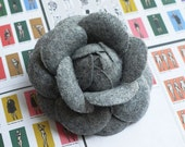 70mm camellia flower fabric corsage brooch pins  Grey
