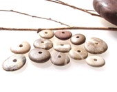 Drilled Beach Stone - PATTERN MIX by StoneAlone - River Stone Jewelry Supplies, Rondelles, Stack Cairns