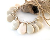 Natural Stone Beads with Open Jump Rings - IVORY MIX by StoneAlone - Pebble Jewelry Supplies, Beach Stone Beads
