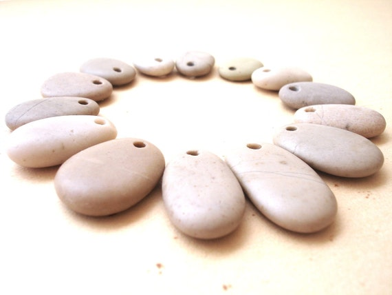 VANILLA SKY - Authentic Beach Stone Jewelry Supplies, Artisan supplies, Craft supplies, Focal beads, diy, by StoneAlone
