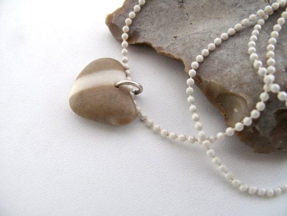 Beach Stone Heart Rock - DARLING Necklace by StoneAlone - Beach Stone Jewelry, Valentine Gift