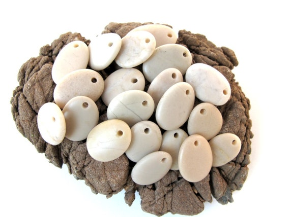 Natural Stone Jewelry Beads - IVORY DROPS by StoneAlone - Beach Stone Supplies, Beach Pebbles