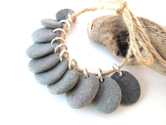Pebble Jewelry Beads - HAZY GREYS by StoneAlone - Natural Stones, Beach Stone Supplies, Beach Stones with Open Jump Rings