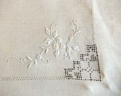 Linen Runner with Floral Embroidery, Drawn Thread Work and Hemstitching