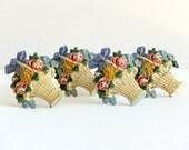 Cast Iron Curtain/Drapery Tie Backs, Hubley, 2 Pair (4) with Flower Baskets