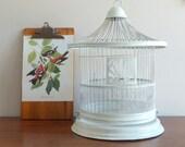 Birdcage, White Metal, Cottage Chic
