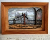Reserved for Pinknoise Rustic Cabin Art, Carved Wood Picture, House in the Woods, Handmade, 3-D