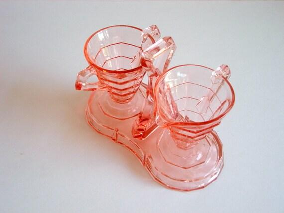 Pink Depression Glass Tea Room Sugar Creamer And Tray