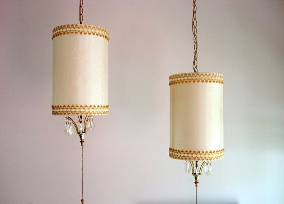Swag Lamps Pair 2 1960 S Home Decor Mad Men Cream