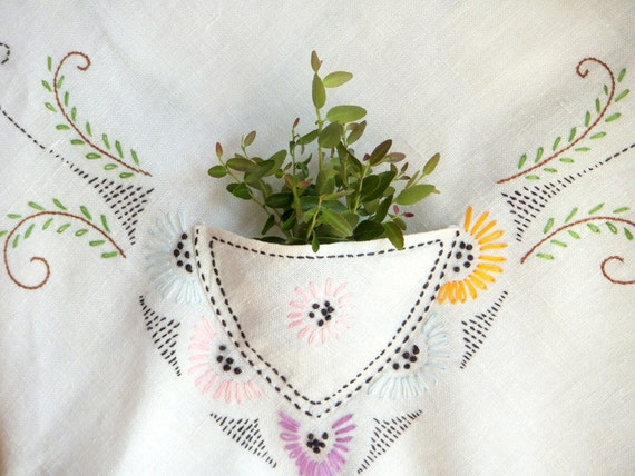 Embroidered Tablecloth with Pockets