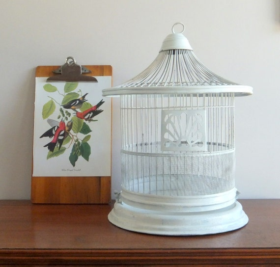 Birdcage, White Metal, Cottage Chic