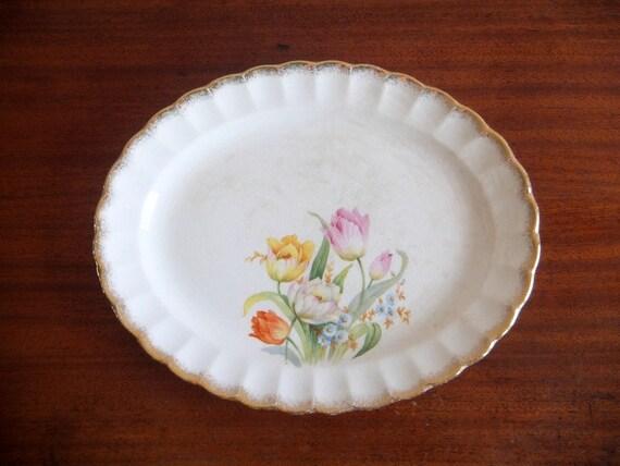 Small Floral Platter, Golden Ware Sebring, Tulips