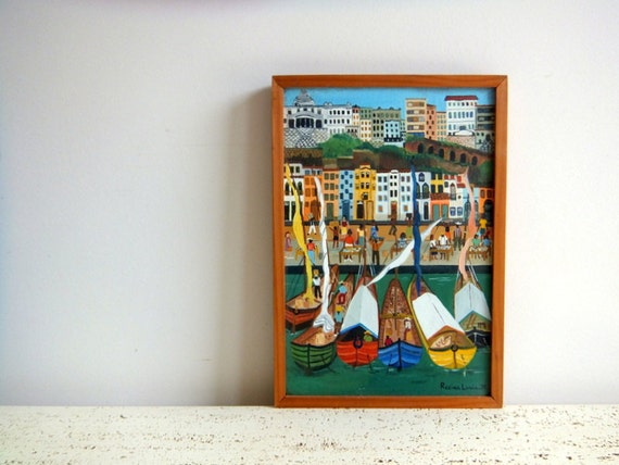 Painting, Boats in Brazil by Regina Lucia, Nautical Home Decor