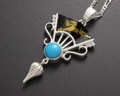 SALE: Fan motif silver turquoise pendant