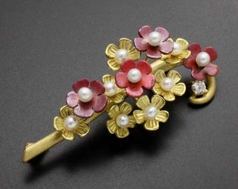 18K gold florets brooch with red copper and diamond