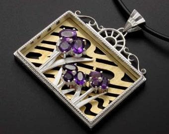 Art Deco style pendant necklace, purple amethyst iris flower pendant necklace, Japanese art pendant necklace