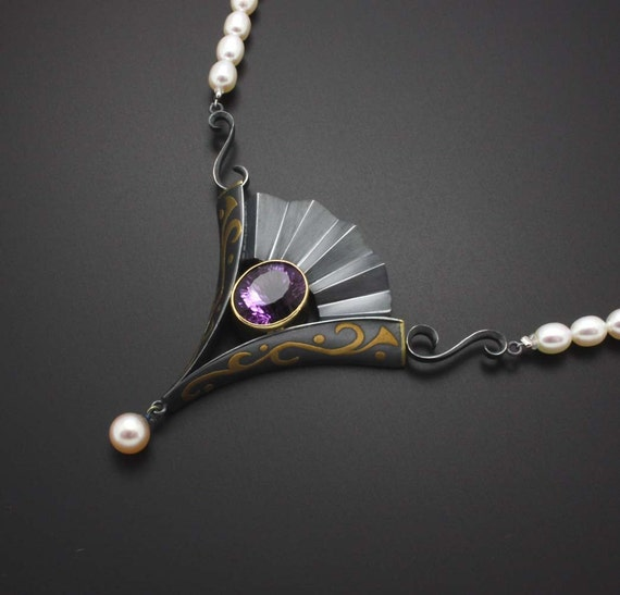 Amethyst, black silver and gold pendant with pearl necklace