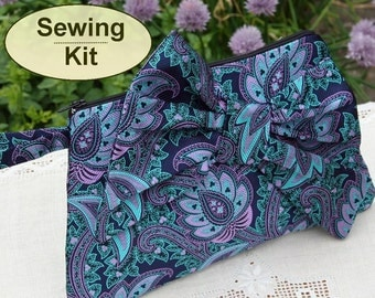 Sewing kit to make the Bon-Bon Clutch Purse - limited edition navy, teal and purple Sudbury silk jacquard fabric and pattern included