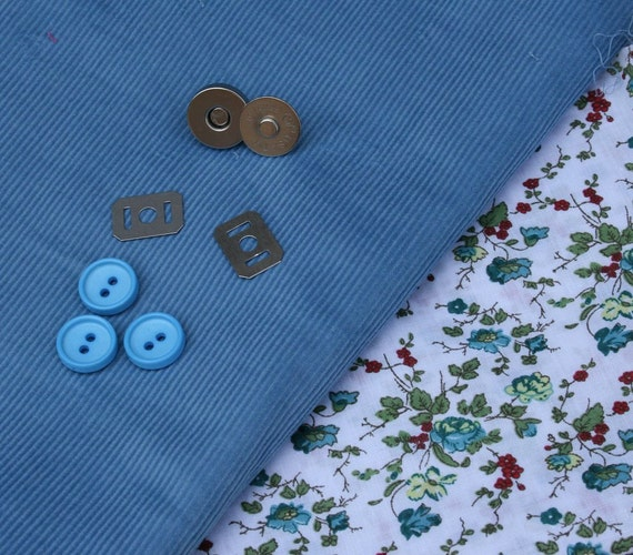 British cotton corduroy, floral print fabric and vintage button pack in cornflower blue