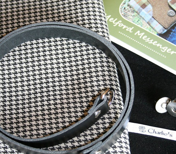 Fabric and pattern kit with English moleskin and leather strap to make the Melford Messenger Bag