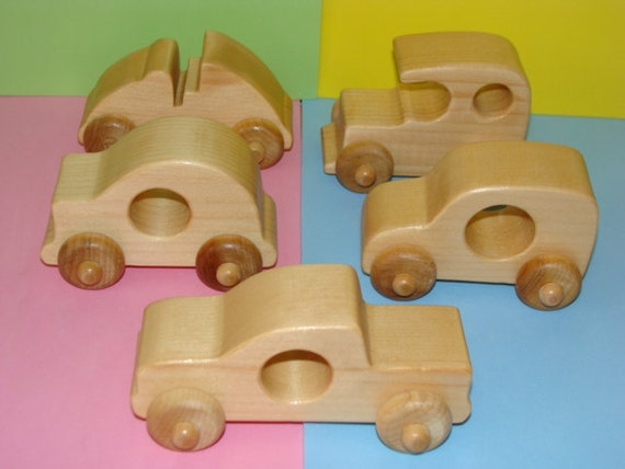 RESERVED for LISA K - Wooden BABY Toy Cars ( Set of 5 )