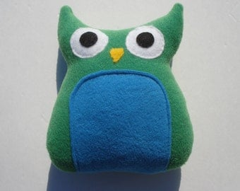 Putter - Squeaky Owl Dog Toy - Green and Turquoise