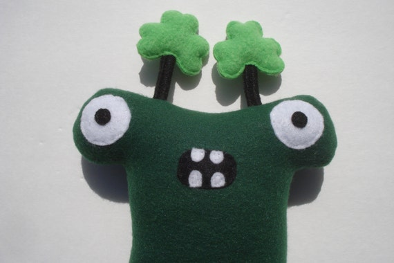 St. Patrick's Day Monster Dog Toy - Herman Hammerhead With Shamrocks - Dark Green