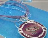 Purple Las Vegas Poker Chip Pendant/Necklace