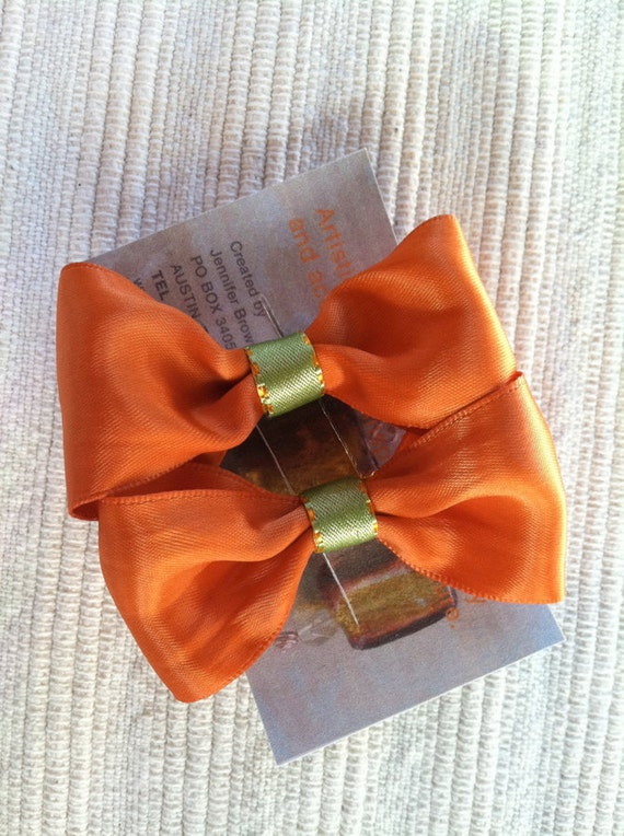 Pair of Harvest Orange and Sage Green Bow Barrettes