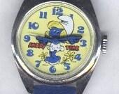 Vintage Smurfette Character watch, 1983 Bradley, Excellent, wind up