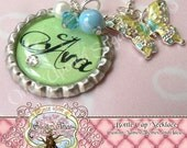 Light Green Personalized Custom Name Bottle Cap Bottlecap Necklace, Butterfly Charm-Gift Present, Mother Grandmother, Wedding, Bridal