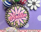 PERSONALIZED Name Pink OR Purple DAISY Bezel Pendant Necklace with Flower Charm, Present Gift Necklaces by Once Upon a Sugar Tree