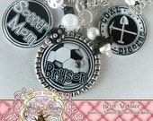 Fully Customizable Team SOCCER Necklace with Soccer Rocks Charm, Soccer Mom, Children's Name(s)/Number, Soccer Fan, Sports-TRIPLE PENDANT