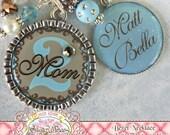 Mom's Double Pendant Bezel NECKLACE (or Key Chain), Blue Brown, Children's Names, Grandma, Nana, Mother, Gift Present, Noni, Mimi, Wedding