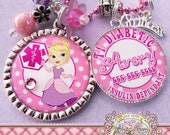 MEDICAL ALERT PRINCESS Necklace, Medical Alert Symbol-T1 Diabetic Diabetes, Peanut Allergy, Epilepsy, Food Allergy, Asthmatic, Emergency