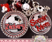 SOCCER NECKLACE-Double Pendant-Fully Customizable Necklace, Soccer Mom, Team Logo, Team Mom, Number Name, Team Colors, Soccer Rocks Charm