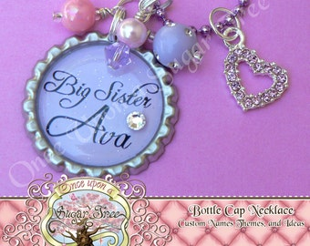 Light Purple Personalized Name BIG SISTER Bottle Cap Bottlecap Pendant Necklace with Pink Heart Charm-Gift Present by Once Upon a Sugar Tree