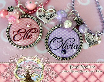 Personalized Polka Dot BIG Sister LITTLE Sister Bezel Pendant NECKLACE-Two Necklaces Included, Big Sister and Little Sister Charm