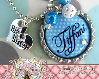 Personalized Name Blue Polka Dot BIG SISTER Bottle Cap Necklace, Big Sister Charm, Birthday, Gift, New Sister, Charm Necklace, Shower Gift