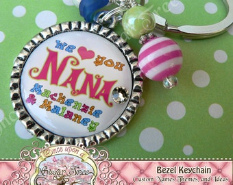 Custom Personalized We Love You Grandma Bezel Keychain or Necklace, Mom, Grandma, Nana Gift Present by Once Upon a Sugar Tree